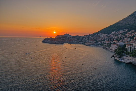 Aerial drone sunset panorama of the Dubrovnik old city in Croatia Europe.