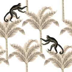 Vintage tropical banana tree, monkey wildlife animal floral seamless pattern white background. Exotic safari wallpaper.