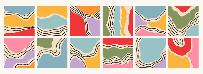 Wall Mural - Various lines, curves and shapes. Marble texture effect. Colorful abstract patterns. Backgrounds, wallpapers, templates. Hand drawn Vector illustration. Every pattern is isolated. Perfect for prints