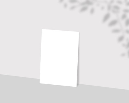 Blank white paper mockup with shadow Overlay. Empty paper photo mockup with clipping path. Mockup scene.