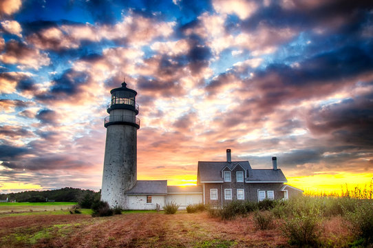 Highland Lighthouse Cape Cod Dramatic sunset