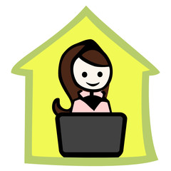 home office_woman_notebook_green silhouette house_by jziprian