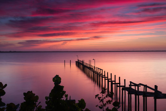 Sunrise over the Indian River, St. Lucie, Florida.