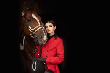Portrait Jockey woman rider with brown horse, concept advertising equestrian club school Papier Peint