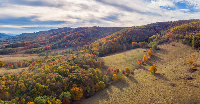 Aerial view of rural Virginia Farm country in Autumn in the valleys and hills of the Appalachian Mountains