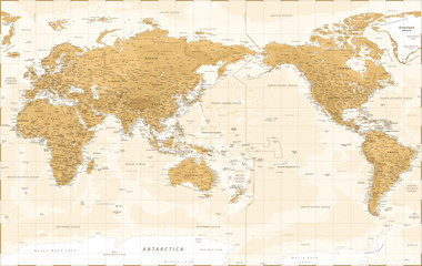 World Map - Asia China Center - Vintage Physical Topographic - Vector Detailed Illustration