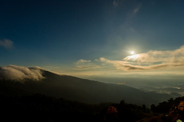 Foto op Plexiglas Ochtendgloren Silhouette Of Mountains Against Sky At Sunset