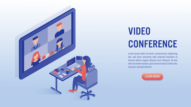 Woman working on laptop with video conference concept.