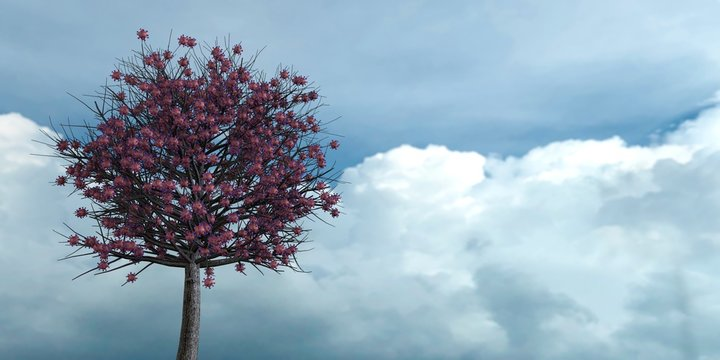 Coronavirus growing on a tree. Metaphor for the impact on the economy and lack of harvest. 3d rendering