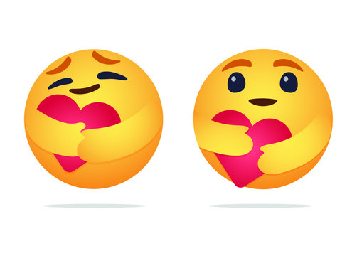 Care emoji - yellow face emoticon with large open glossy eyes hugging a red heart with both hands showing care, support, and presence