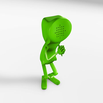 3d rendering of a telephone character praying