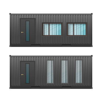 House of black cargo container. Large house out of container for ship isolated on a white background. Vector.