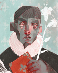 Illustration of man holding book and flowers