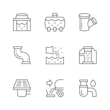 Set line icons of sewerage