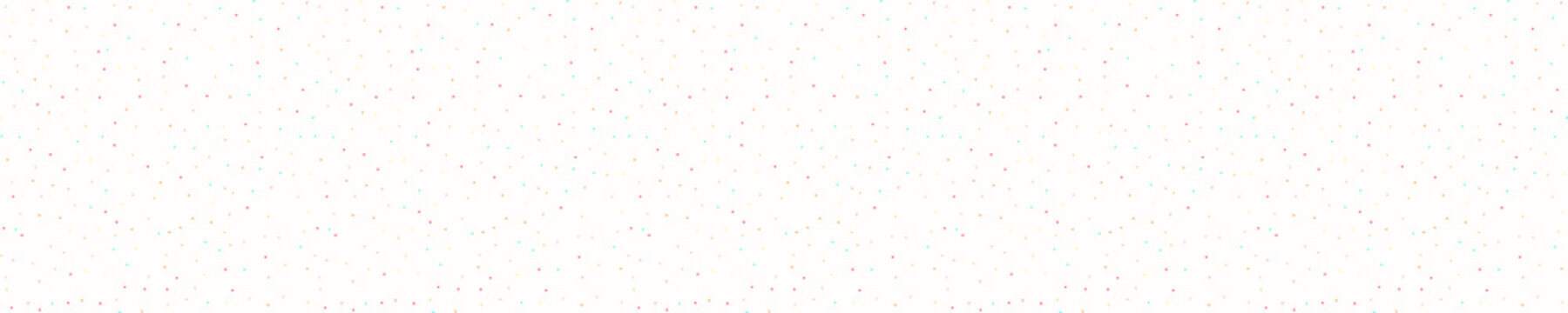 Sparse confetti dotty border texture seamless background. Tiny colored flecked sprinkles ribbon trim edge banner. Modern cute falling speckle pattern. Japanese kawaii minimal digital party washi tape.