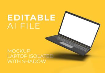 FLOATING Laptop MOCKUP ISOLATED IMAGE