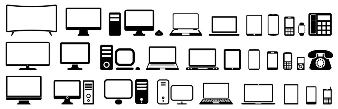 Set technology devices icon: tv, computer, laptop, tablet, smartphone. mp3, watch - vector