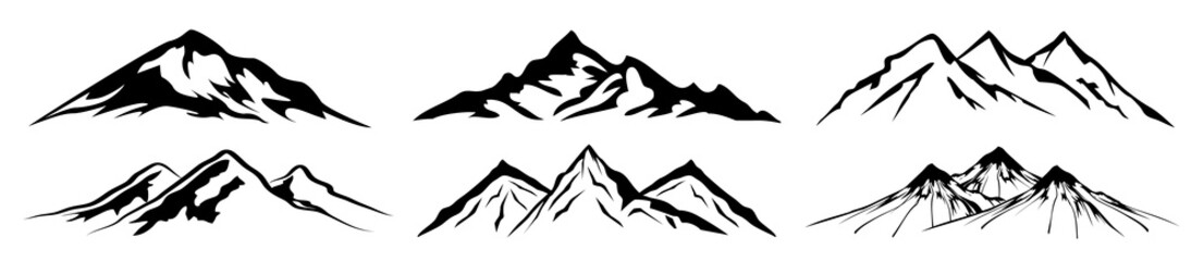 Set mountain ridge with many peaks - vector Fotomurales