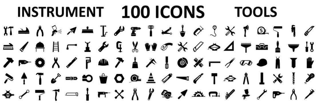 Instrument icons set. Construction tool icon collection – stock vector