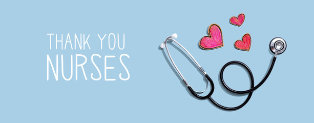 Thank You Nurses message with stethoscope and hand drawing hearts