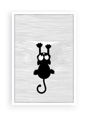 Cat silhouette in front of a window, vector. Falling cat. Window blinds illustration. Fun cartoon character. Art design, artwork.
