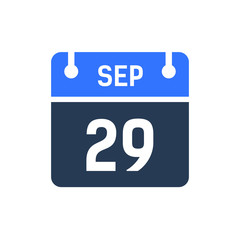 Calendar Date Icon - September 29 Vector Graphic