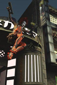 3D manga action girl in geisha makeup in sci fi city