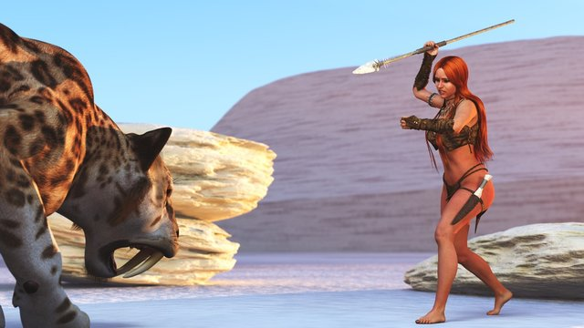 3D cave girl and crouching sabre tooth