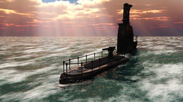 3D retro ornate submarine
