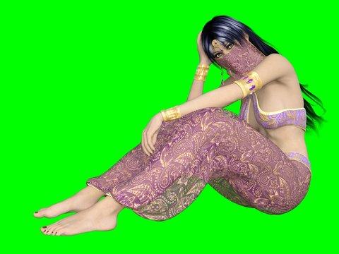 3D Arabian nights harem girl