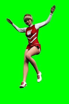 3D jumping cheerleader