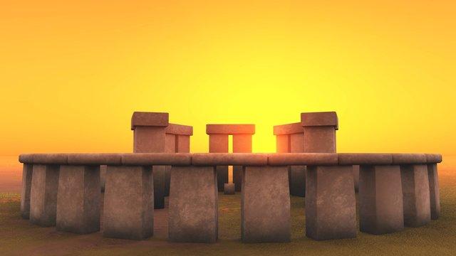 3D intact Stonehenge at dawn