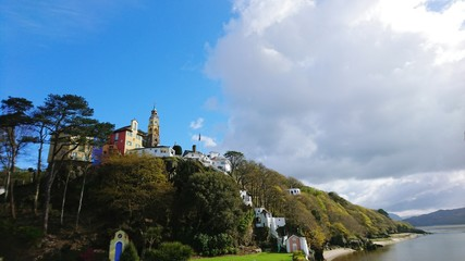 Low Angle View Of Houses On Hill At Portmeirion Village
