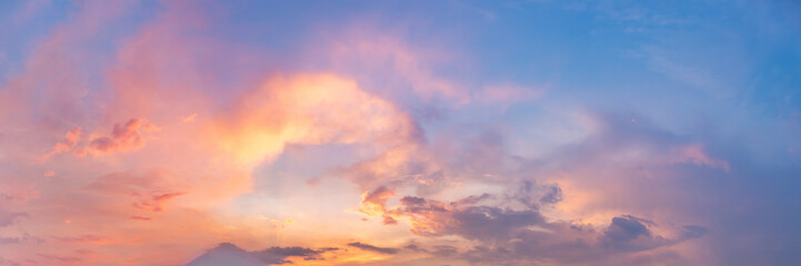 Foto op Plexiglas Zalm Twilight panorama sky background with colorful cloud in dusk. Panoramic image.