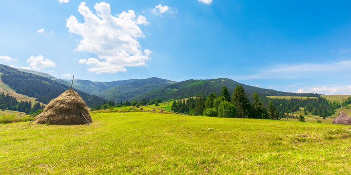 idyllic rural panorama on a sunny summer day. hay stack on the field. wonderful countryside in mountains beneath a blue sky with fluffy clouds