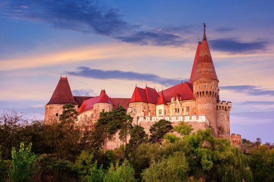 legendary corvins castle in hunedoara at dawn. one of the largest in europe and is in a list of seven wonders of romania. most visited travel destination of transylvania