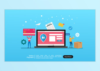 Online payment landing page design. People character doing transaction and shopping with online payment. Secure money transfer with shield, card and laptop symbol. vector template illustration