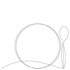 Fototapeta Spoon and plate silhouette one line drawing, vector illustration