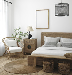 Mockup frame in bedroom interior background, Farmhouse style, 3d render