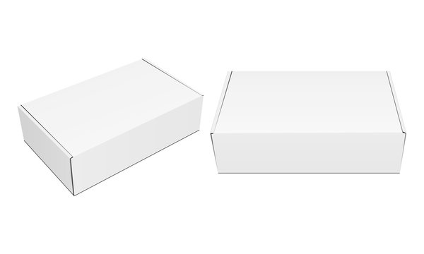 Two closed blank packaging boxes mockups isolated on white background. Vector illustration