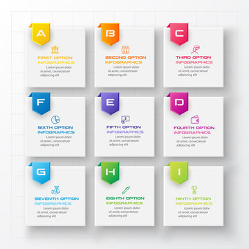 Business infographics template 9 steps with square,Element for design invitations,Vector illustration.