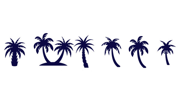 Palm trees icons set vector design