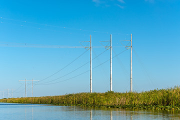 Power lines in Everglades National Park near Fort Lauderdale, Florida, USA