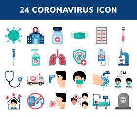 Set of COVID-19 Coronavirus Flat Icons