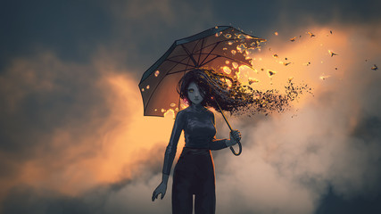 Foto op Aluminium Grandfailure mysterious woman holds the burning umbrella standing against sunset sky background, digital art style, illustration painting