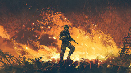 Foto op Aluminium Grandfailure a soldier with his gun standing against fire background and looking at viewer, digital art style, illustration painting