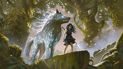 Foto op Aluminium Grandfailure wild girl with her wolf standing in the forest, digital art style, illustration painting