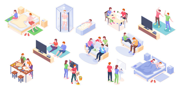 Couple daily life isometric vector design, man and woman home routine and everyday leisure activity. Couple daily life taking shower and bath, playing games with friends, cooking and eating breakfast