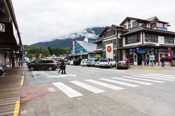 Street scene with people in Ketchikan, a port town that is a popular cruise ship stop on the Inside Passage, Alaska, USA