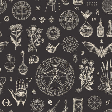 Vector seamless pattern on the theme of alchemy and healing in retro style. Abstract repeating background with hand-drawn sketches, medicinal herbs and old alchemical symbols on a black background